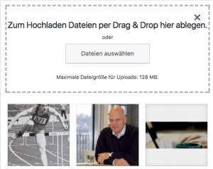 Mediathek Bilder hochladen Screenshot