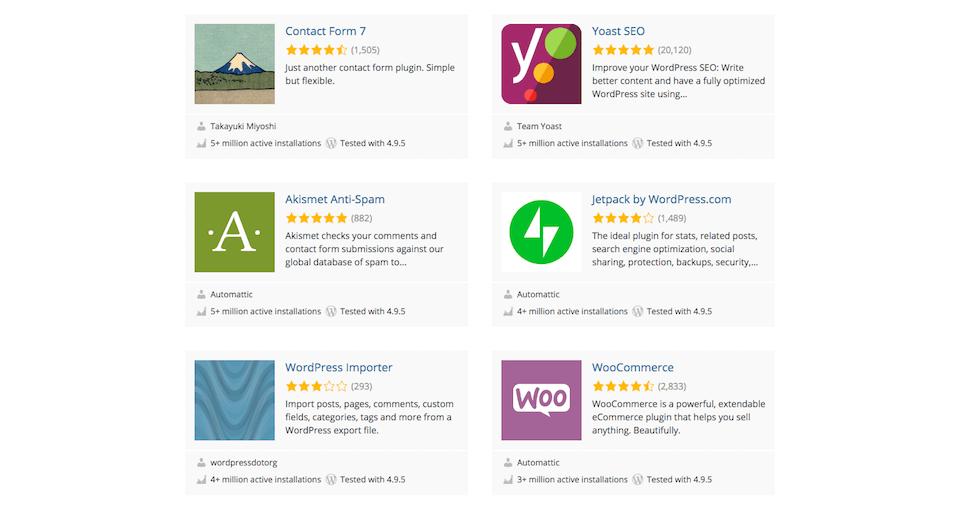 Beispiele von Plugins auf WordPress.org