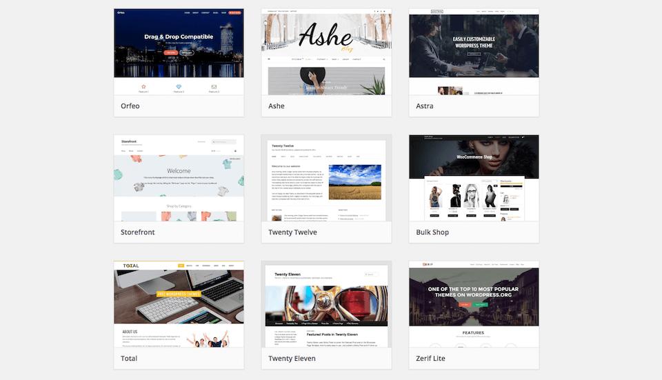 Beispiele von Themes auf WordPress.org